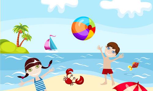 Παιδια παιζουν στην παραλία